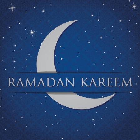 Silver crescent moon  Eid Mubarak   Blessed Eid  card Illustration