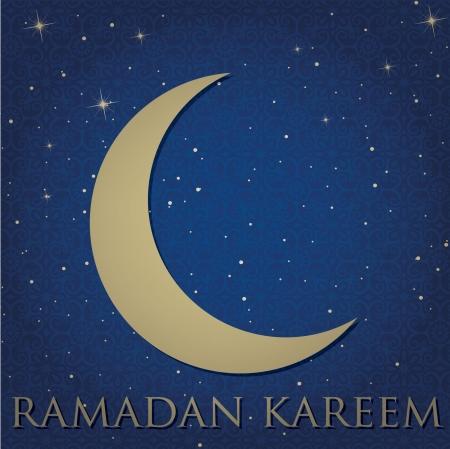 Gold crescent moon  Ramadan Kareem   Generous Ramadan  card in vector format Stock Vector - 19401145