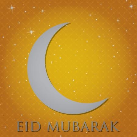 croissant de lune: Argent croissant de lune Eid Mubarak B�ni carte eID