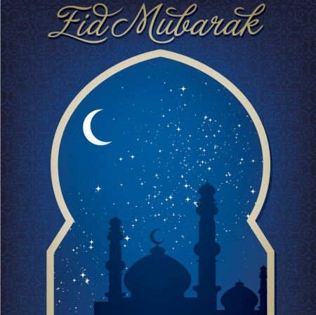 Gold window  Eid Mubarak   Blessed Eid  card Stock Vector - 19401297