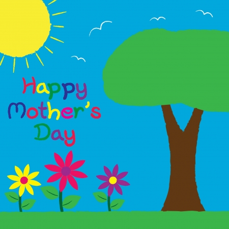 mother s hand: Carta Bright Day disegnata a mano Madre s