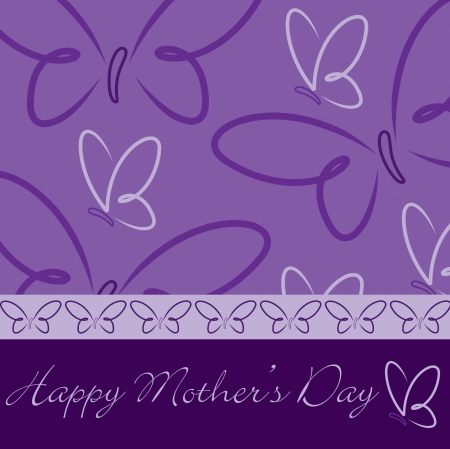 purple butterfly: Happy Mother s Day butterfly card in vector format