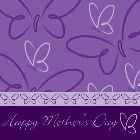 flor morada: Mariposa tarjeta Feliz D�a de la Madre s en formato vectorial