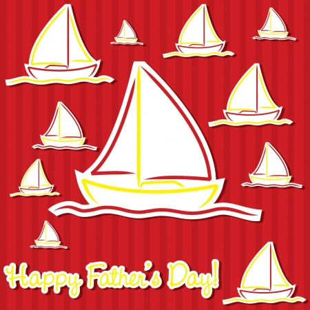 Bright Father s Day sailing boat cards Vector