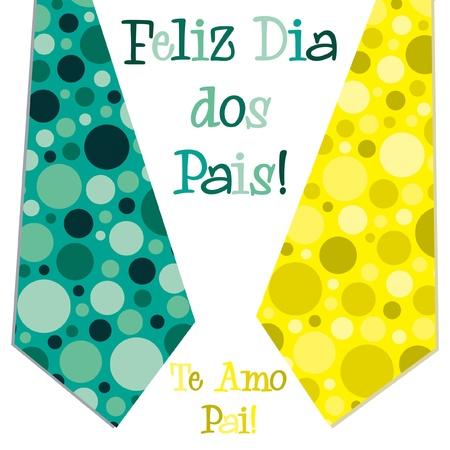 Bright bubble tie Portuguese  Happy Father s Day  neck tie card