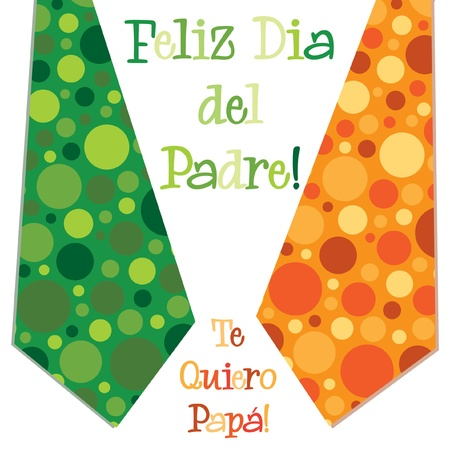 father s day: Bright bubble tie Spanish  Happy Father s Day  neck tie card