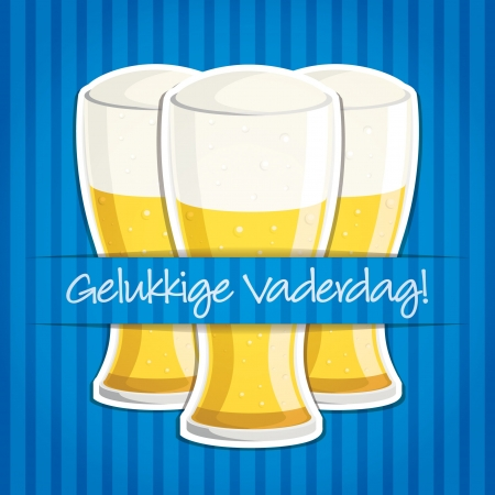 Happy Father s Day  beer card in vector format