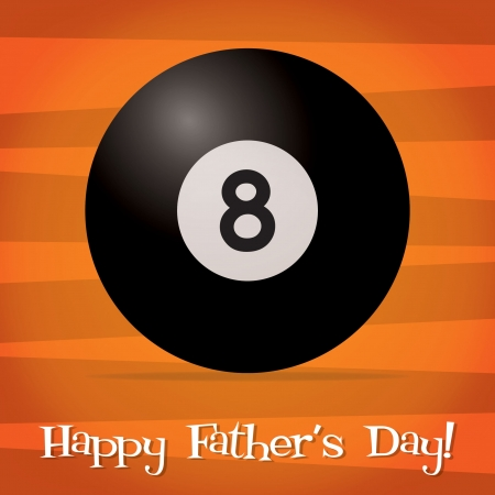 Bright billiard ball Happy Father s Day card Vector