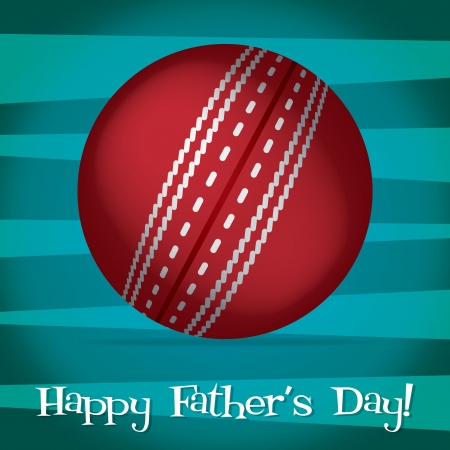 Bright cricket ball Happy Father s Day card Vector