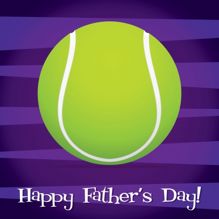 Bright tennis ball Happy Father s Day card  Vector
