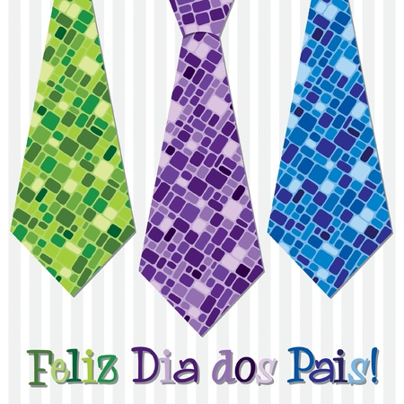 grand sons: Bright mosaic Portuguese  Happy Father s Day  neck tie card