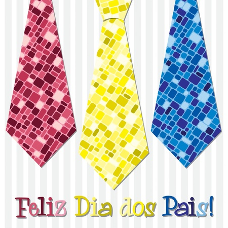 Bright mosaic Portuguese  Happy Father s Day  neck tie card in vector format