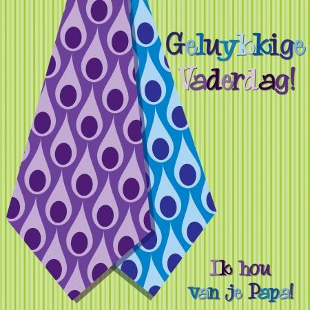 Bright peacock design Dutch  Happy Father s Day  neck tie card