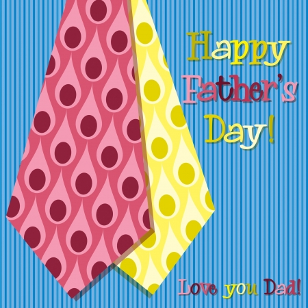 Bright peacock design  Happy Father s Day  neck tie card Vector
