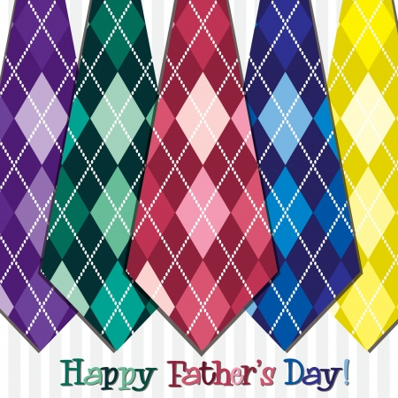 Bright  Happy Father s Day  neck tie card  Vector