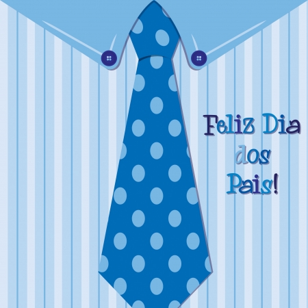 Bright shirt and tie Portuguese  Happy Father s Day  neck tie card Vector
