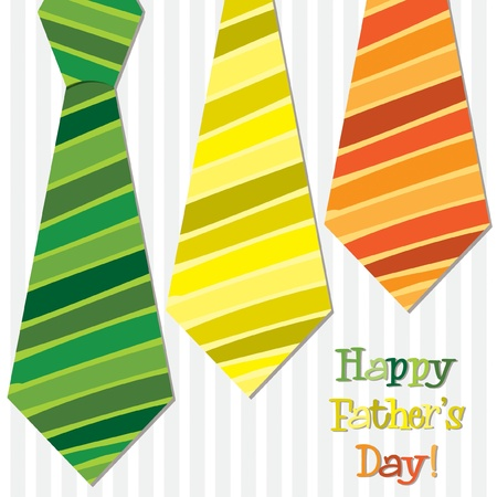Bright  Happy Father s Day  neck tie card Stock Vector - 19401394