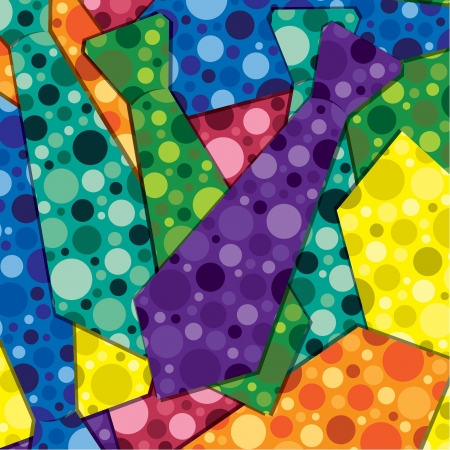 neck tie: Retro bubbles tie sticker card background Illustration