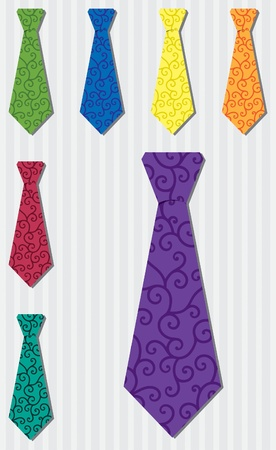 Bright filigree silk tie stickers Vector