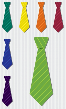 pin stripe: Bright pin stripe silk tie stickers in vector format