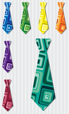 Bright retro square silk tie stickers Vector