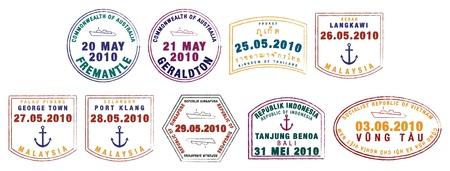 Asian passport stamps in vector format  Иллюстрация
