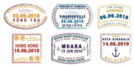 Asian passport stamps Vector