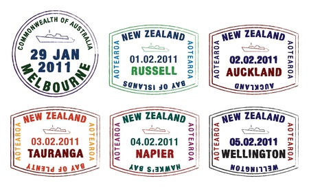 australia stamp: stylist passport stamps from Australia and New Zealand  Illustration