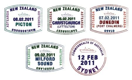 stylist paspoort stempels uit Australië en Nieuw-Zeeland