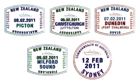 passport stamp: stylist passport stamps from Australia and New Zealand  Illustration