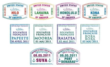 bora: Hawaiian, French Polynesian and Fijian passport stamps
