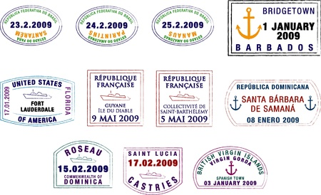 passport stamp: A collection of stylized South American and Caribbean passport stamps on a white background  Illustration