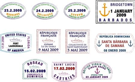 pasaportes: Una colecci�n de estilizada de Am�rica del Sur y el Caribe pasaporte sellos sobre un fondo blanco