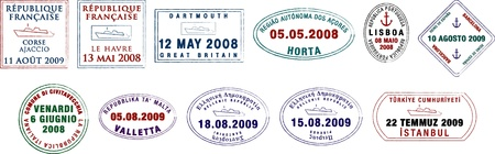 A collection of stylised European passport stamps on a white background  Illustration