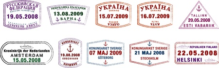 sweden: A collection of stylised Northern European passport stamps on a white background