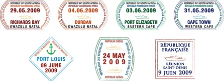 indian ocean: A collection of stylized African and island passport stamps on a white background  Illustration