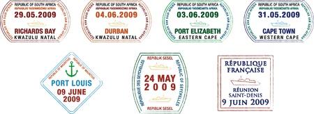 mauritius: Een verzameling van gestileerde Afrikaanse en eiland paspoort stempels op een witte achtergrond