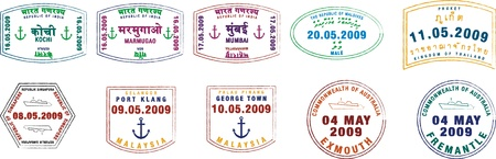 Goa: A collection of stylist passport stamps from Asia, India and Australia on a white background