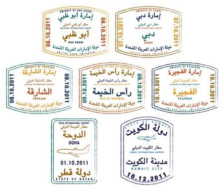 Estilizada pasaporte sellos de los Emiratos Árabes Unidos, Kuwait y Qatar