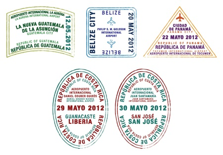 Passport stamps of Guatemala, Belize, Panama and Costa Rica   Illustration