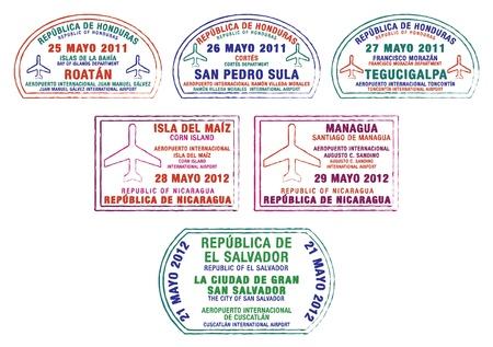 Honduras, Nicaragua and El Salvador passport stamps Vector