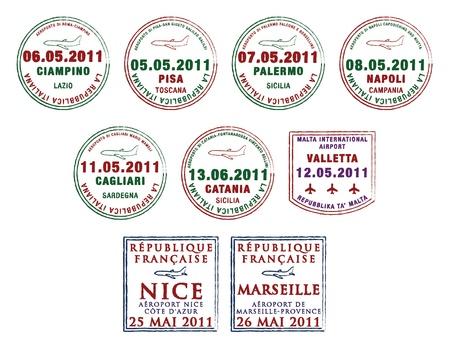 malta: Paspoort postzegels uit Italië, Malta en Frankrijk