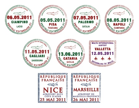 Passport stamps from Italy, Malta and France Vector