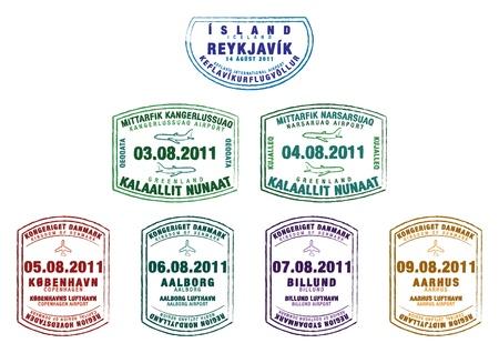 reykjavik: Sellos de pasaporte de Islandia, Groenlandia y Dinamarca en formato vectorial