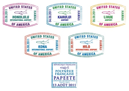 polynesia: Hawaii and French Polynesia passport stamps Illustration