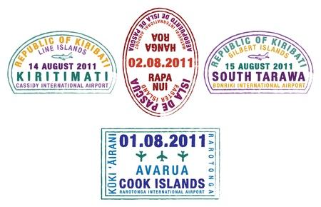 rapa: Kiribati, Easter Island and the Cook Islands passport stamps  Illustration