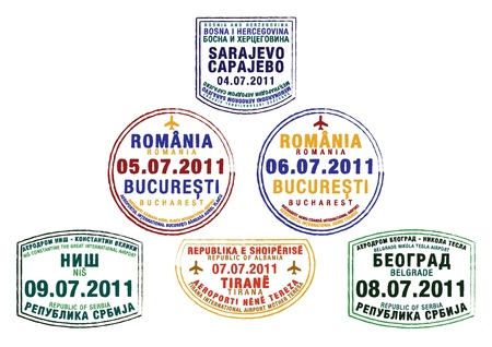 coanda: Passport stamps from Bosnia and Herzegovina, Romania, Serbia and Albania in vector format  Illustration