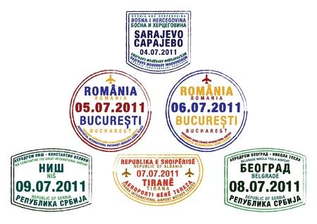 henri coanda: Passport stamps from Bosnia and Herzegovina, Romania, Serbia and Albania in vector format  Illustration