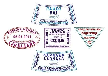 Passport stamps from Cyprus, Slovenia, Macedonia and Montenegro Vector