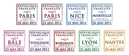 Passport stamps from France Vector